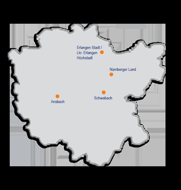 Mittelfranken Karte.Elterntalk Standorte Mittelfranken