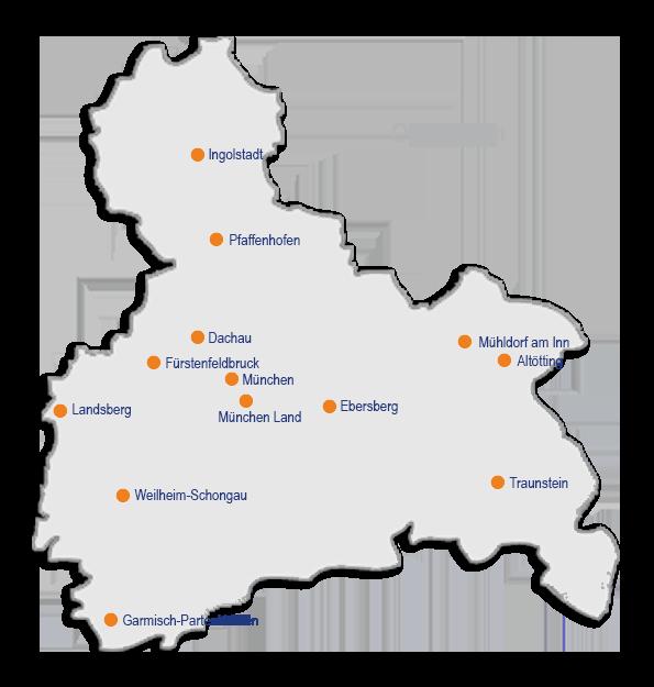 Karte Oberbayern.Elterntalk Standorte Oberbayern